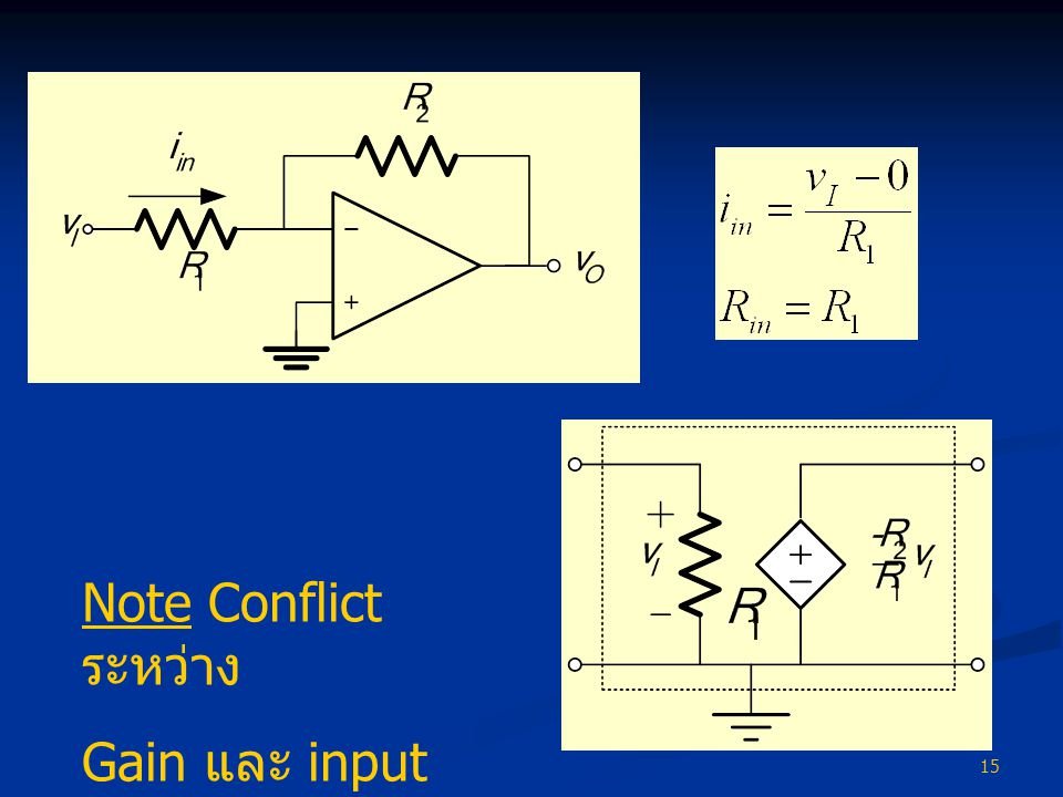 Note Conflict ระหว่าง Gain และ input resistance