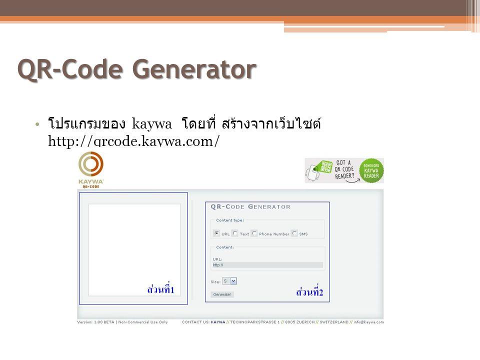 QR-Code Generator โปรแกรมของ kaywa โดยที่ สร้างจากเว็บไซต์ http://qrcode.kaywa.com/