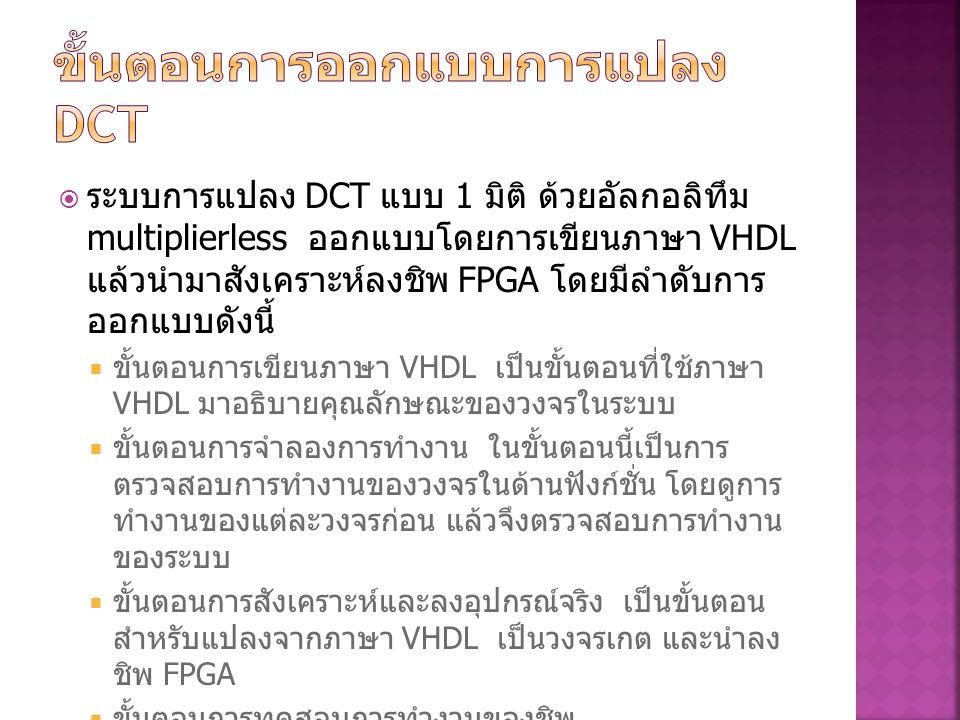 ขั้นตอนการออกแบบการแปลง DCT