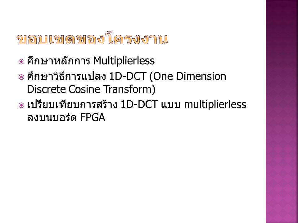 ขอบเขตของโครงงาน ศึกษาหลักการ Multiplierless