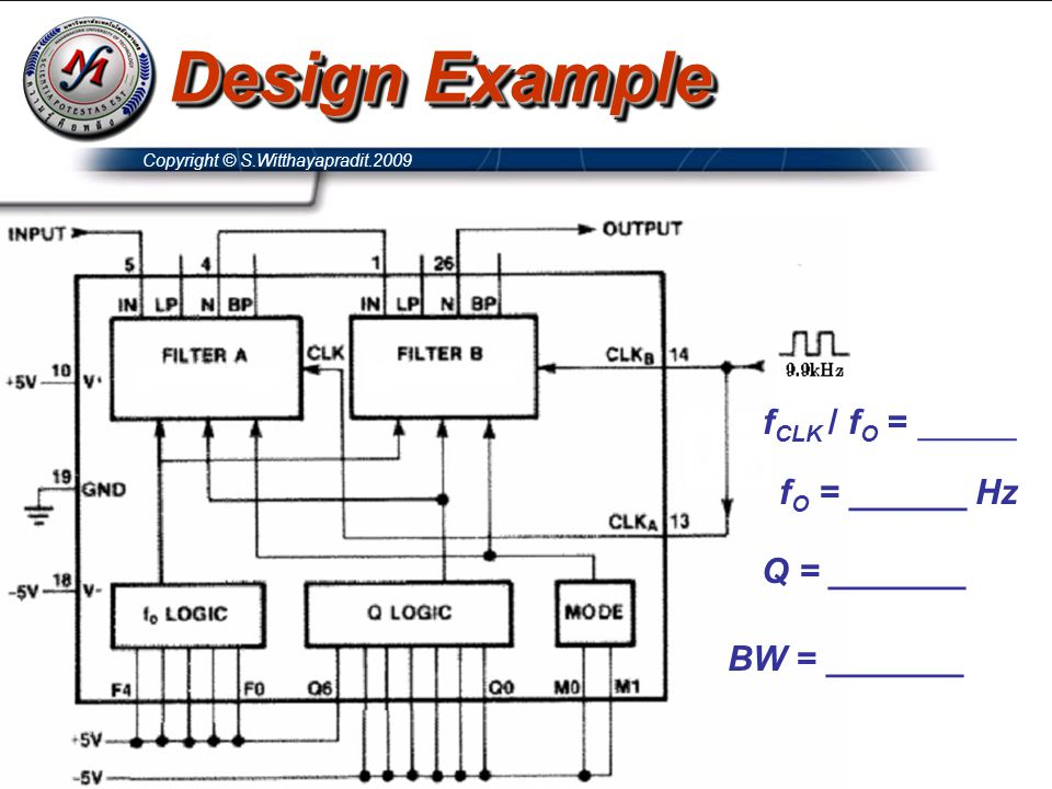 Design Example fCLK / fO = _____ fO = ______ Hz Q = _______
