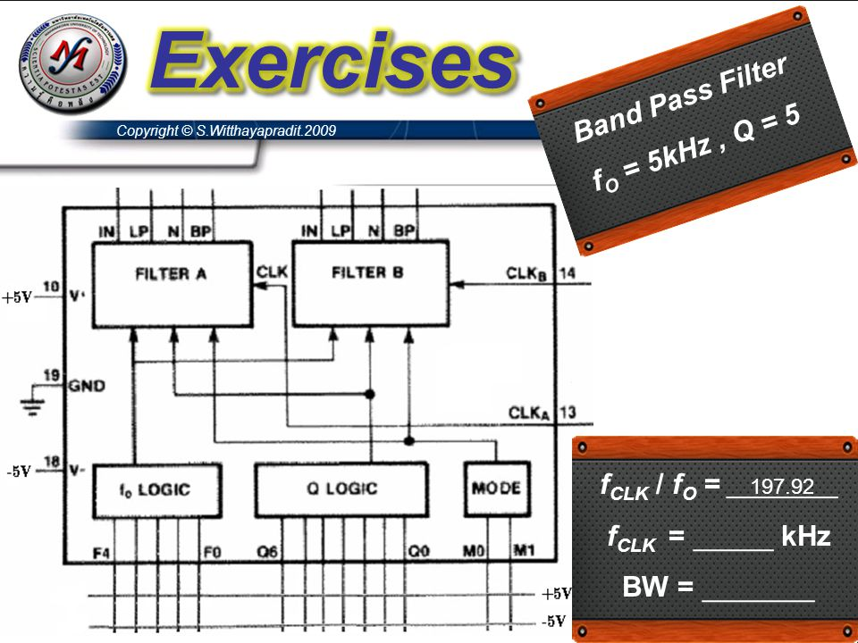 Exercises Band Pass Filter fO = 5kHz , Q = 5 fCLK / fO = __197.92__