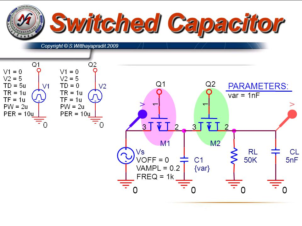 Switched Capacitor PARAMETERS: var = 1nF C1 {var} RL 50K Vs FREQ = 1k