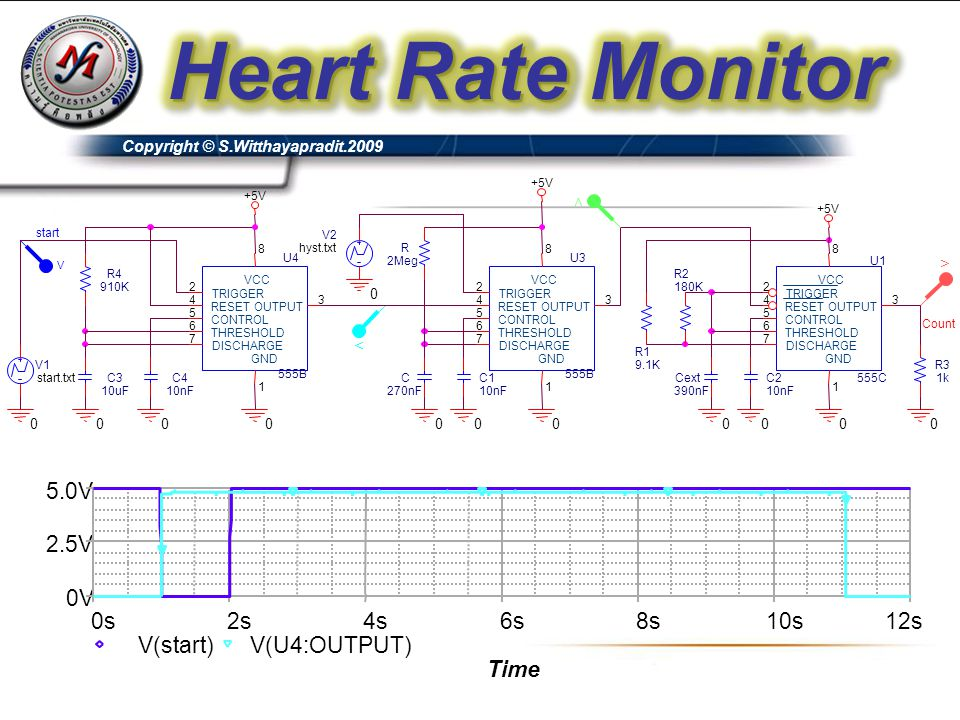 Heart Rate Monitor Time 0s 2s 4s 6s 8s 10s 12s V(start) V(U4:OUTPUT)