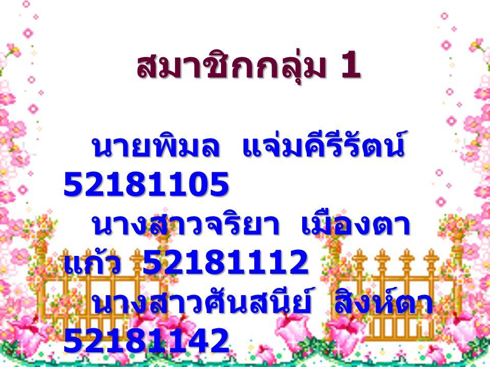 สมาชิกกลุ่ม 1 นายพิมล แจ่มคีรีรัตน์ 52181105