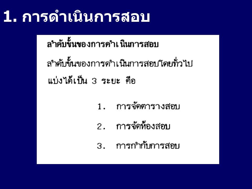 1. การดำเนินการสอบ