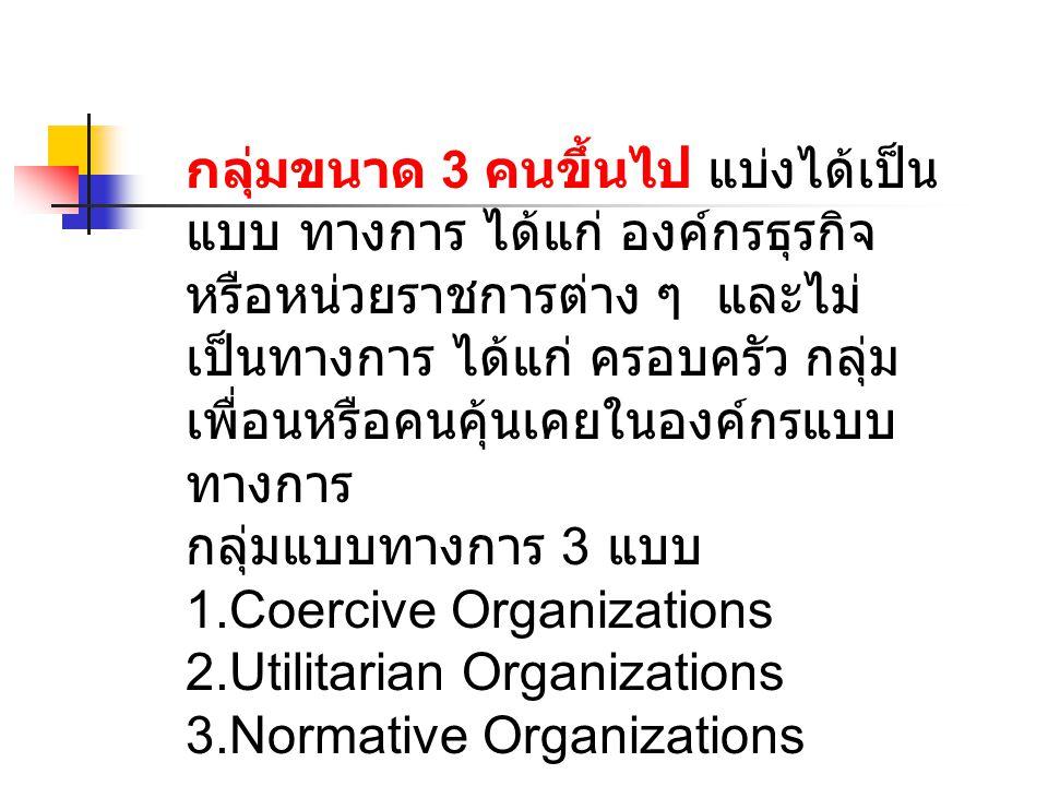 กลุ่มขนาด 3 คนขึ้นไป แบ่งได้เป็นแบบ ทางการ ได้แก่ องค์กรธุรกิจหรือหน่วยราชการต่าง ๆ และไม่เป็นทางการ ได้แก่ ครอบครัว กลุ่มเพื่อนหรือคนคุ้นเคยในองค์กรแบบทางการ