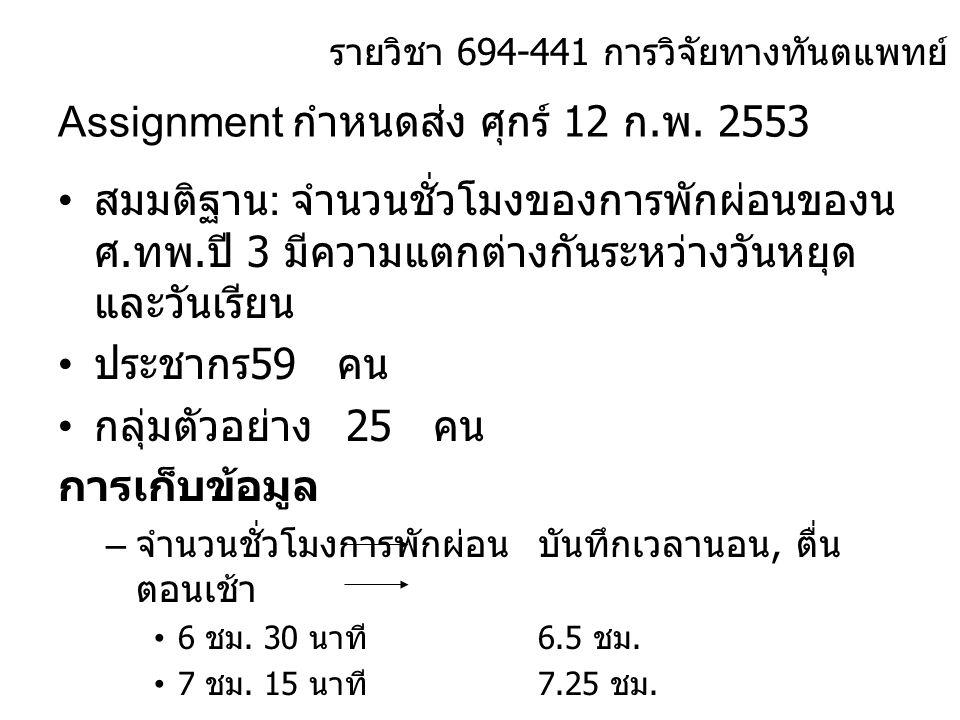 Assignment กำหนดส่ง ศุกร์ 12 ก.พ. 2553