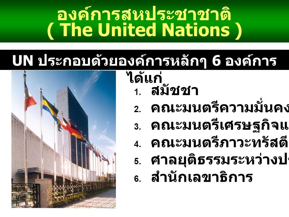 UN ประกอบด้วยองค์การหลักๆ 6 องค์การได้แก่