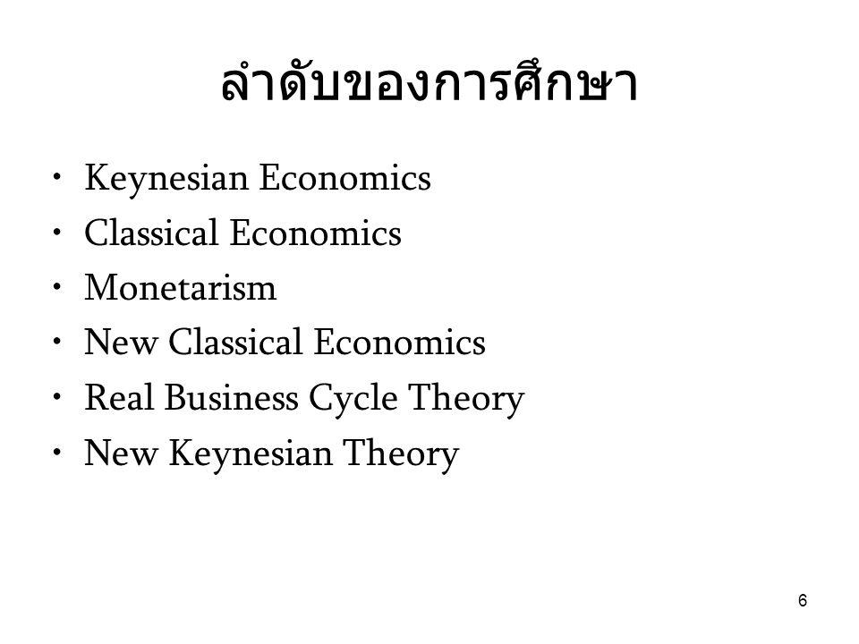 ลำดับของการศึกษา Keynesian Economics Classical Economics Monetarism