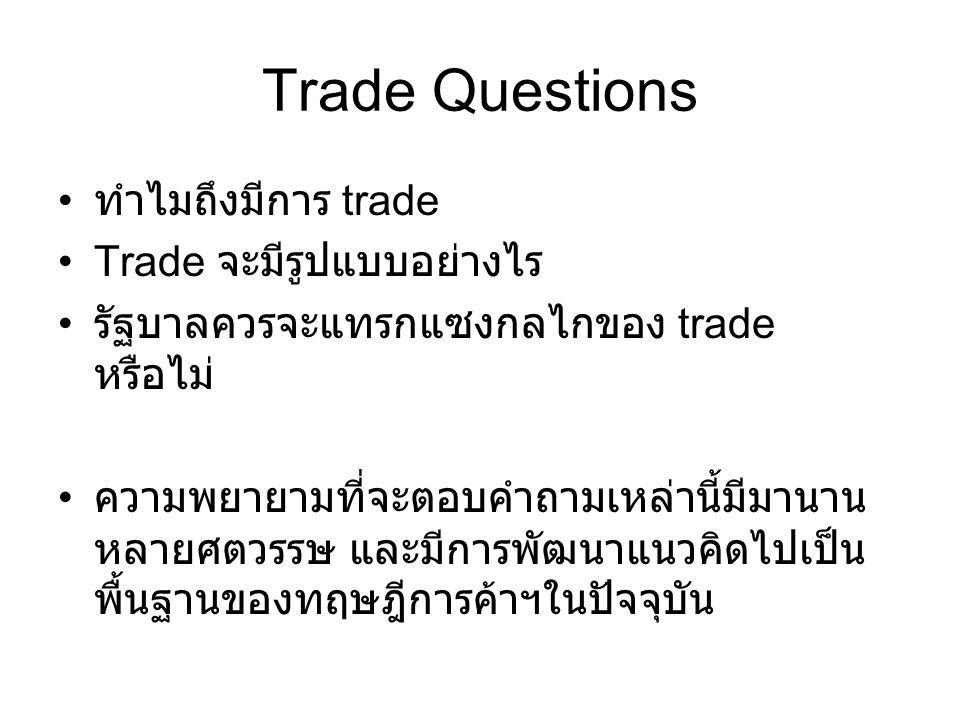 Trade Questions ทำไมถึงมีการ trade Trade จะมีรูปแบบอย่างไร