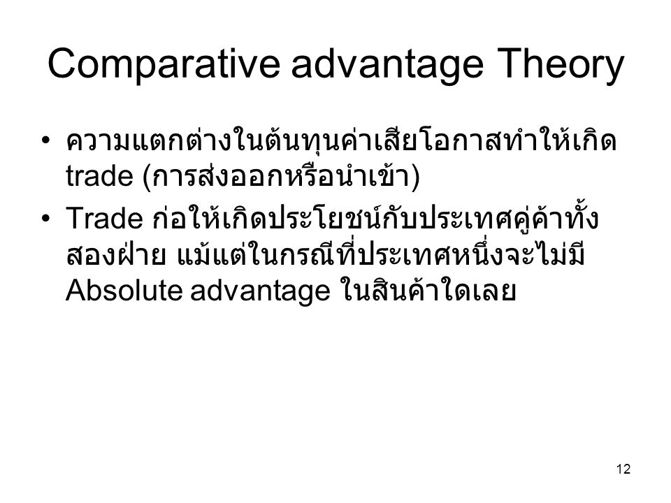 Comparative advantage Theory