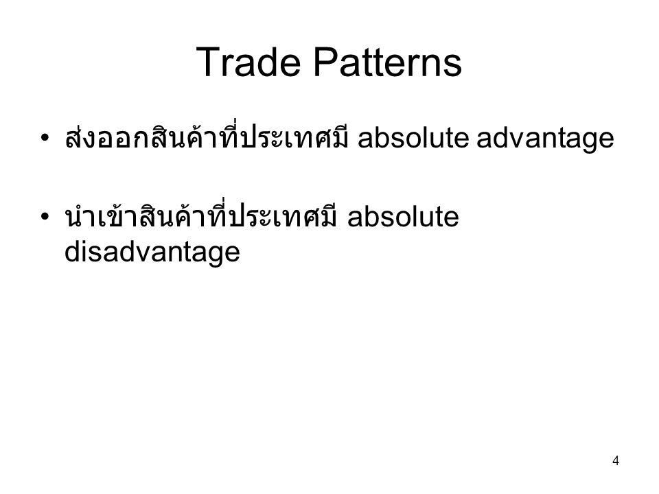 Trade Patterns ส่งออกสินค้าที่ประเทศมี absolute advantage