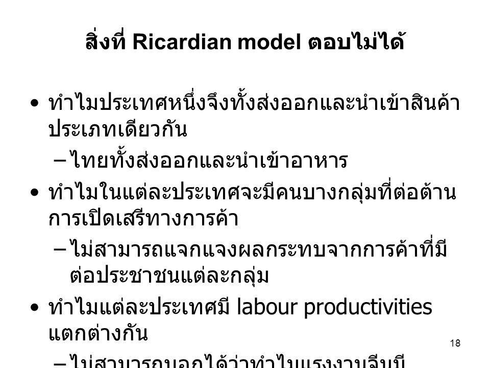 สิ่งที่ Ricardian model ตอบไม่ได้
