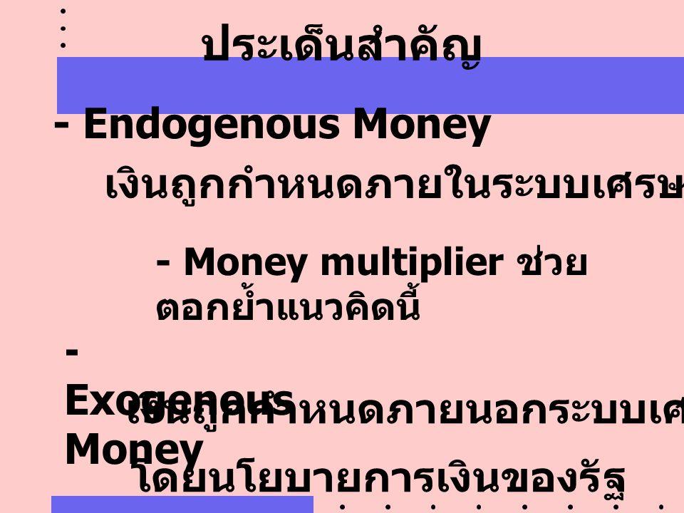 ประเด็นสำคัญ - Endogenous Money เงินถูกกำหนดภายในระบบเศรษฐกิจ