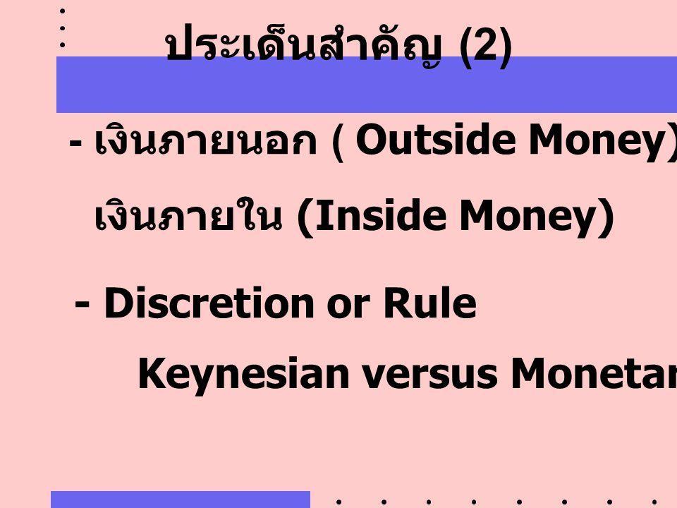 ประเด็นสำคัญ (2) - เงินภายนอก ( Outside Money)
