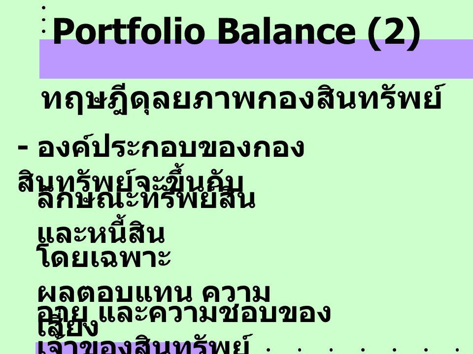 Portfolio Balance (2) ทฤษฎีดุลยภาพกองสินทรัพย์