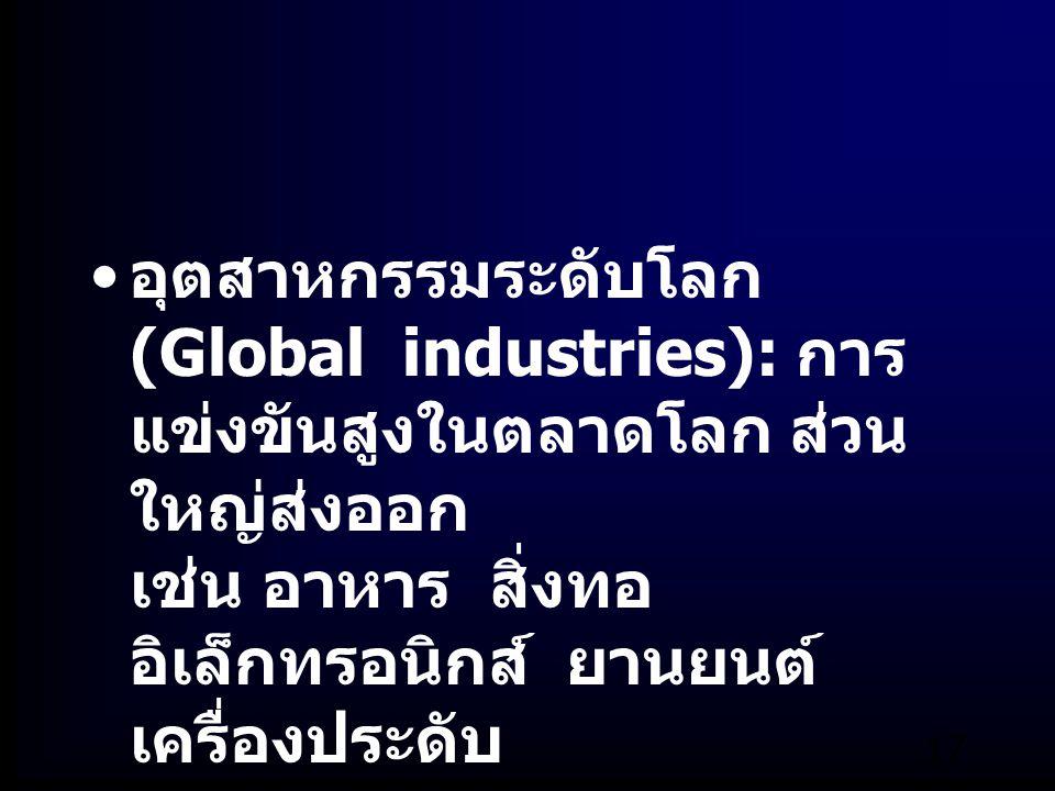 อุตสาหกรรมระดับโลก (Global industries): การแข่งขันสูงในตลาดโลก ส่วนใหญ่ส่งออก เช่น อาหาร สิ่งทอ อิเล็กทรอนิกส์ ยานยนต์ เครื่องประดับ