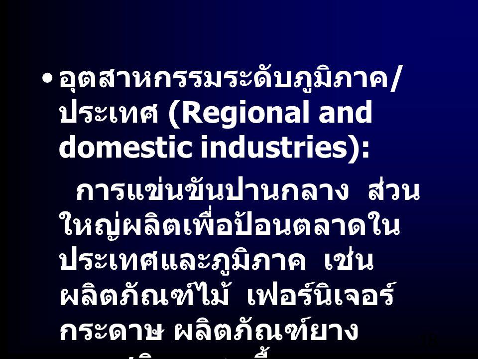 อุตสาหกรรมระดับภูมิภาค/ประเทศ (Regional and domestic industries):