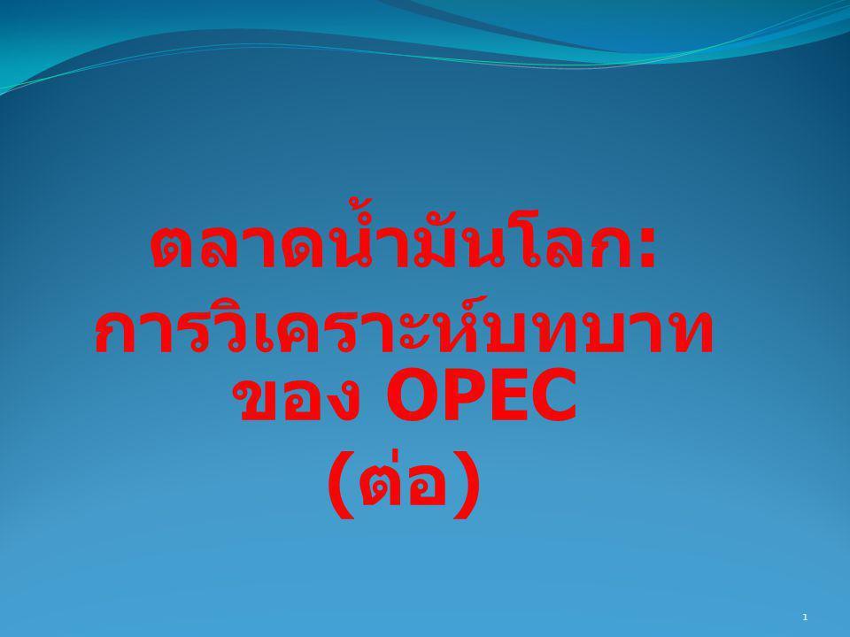 ตลาดน้ำมันโลก: การวิเคราะห์บทบาทของ OPEC (ต่อ)