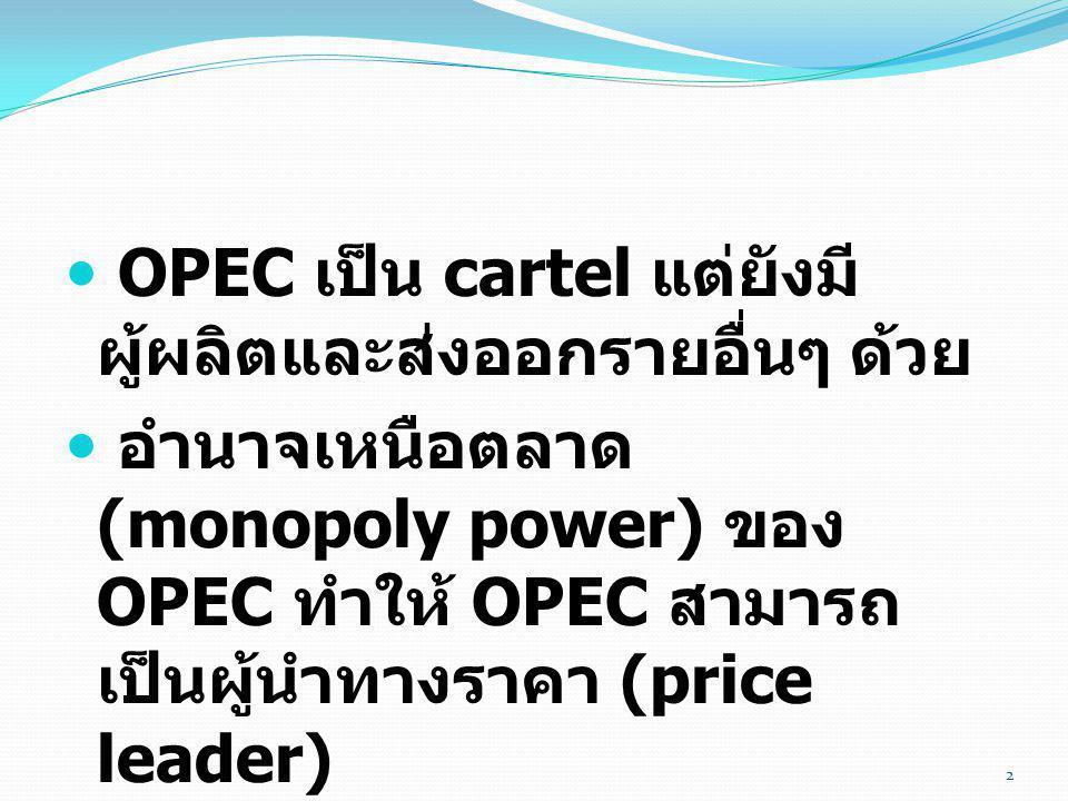 OPEC เป็น cartel แต่ยังมีผู้ผลิตและส่งออกรายอื่นๆ ด้วย