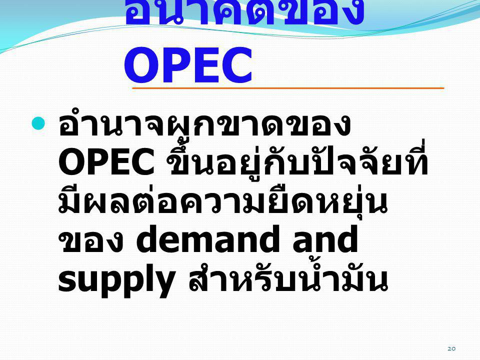 อนาคตของ OPEC อำนาจผูกขาดของ OPEC ขึ้นอยู่กับปัจจัยที่มีผลต่อความยืดหยุ่นของ demand and supply สำหรับน้ำมัน.