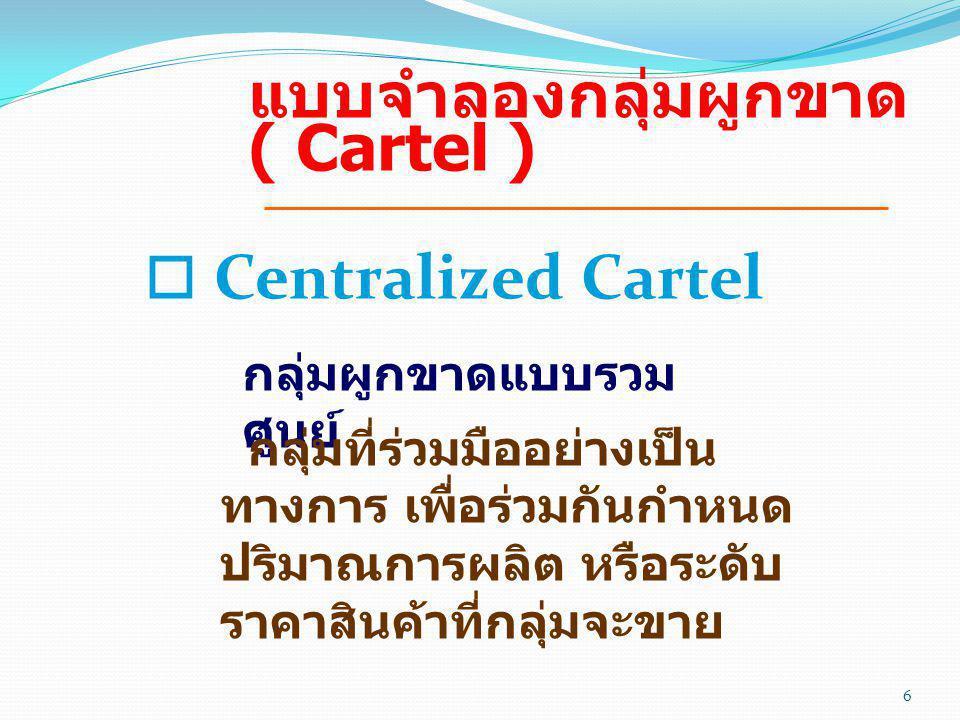 แบบจำลองกลุ่มผูกขาด ( Cartel )