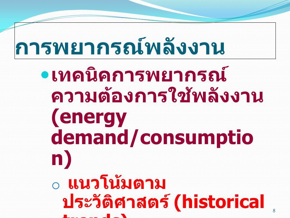 การพยากรณ์พลังงาน เทคนิคการพยากรณ์ความต้องการใช้พลังงาน (energy demand/consumption) แนวโน้มตามประวัติศาสตร์ (historical trends)