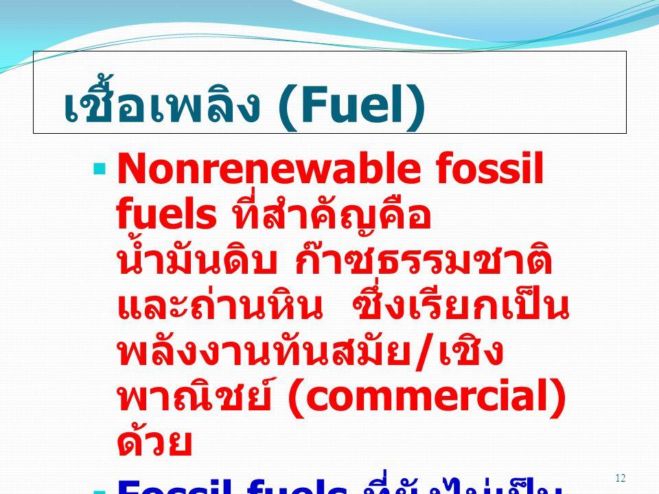 เชื้อเพลิง (Fuel) Nonrenewable fossil fuels ที่สำคัญคือ น้ำมันดิบ ก๊าซธรรมชาติ และถ่านหิน ซึ่งเรียกเป็นพลังงานทันสมัย/เชิงพาณิชย์ (commercial) ด้วย.