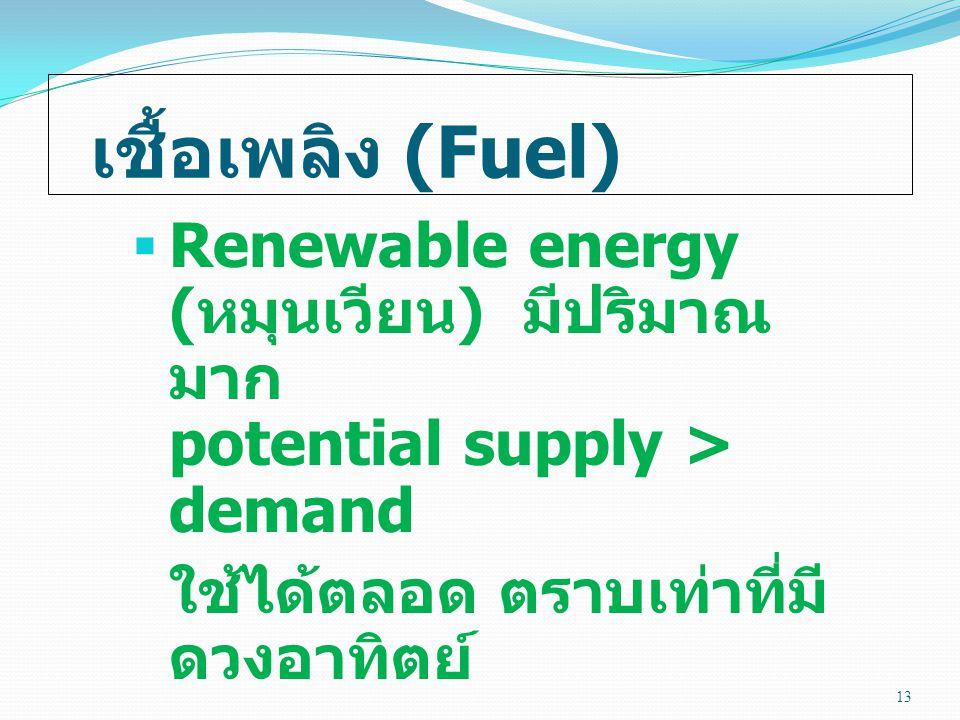 เชื้อเพลิง (Fuel) Renewable energy (หมุนเวียน) มีปริมาณมาก potential supply > demand.