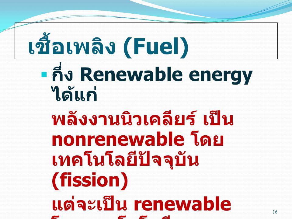 เชื้อเพลิง (Fuel) กึ่ง Renewable energy ได้แก่