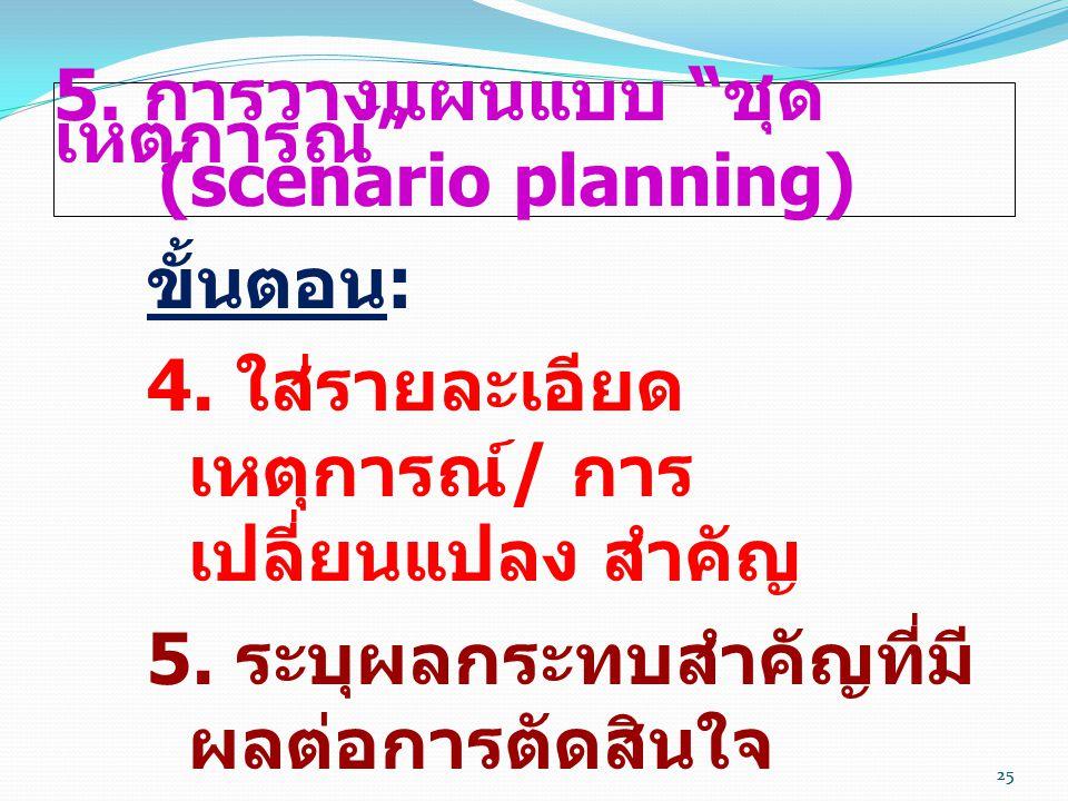 5. การวางแผนแบบ ชุดเหตุการณ์ (scenario planning)