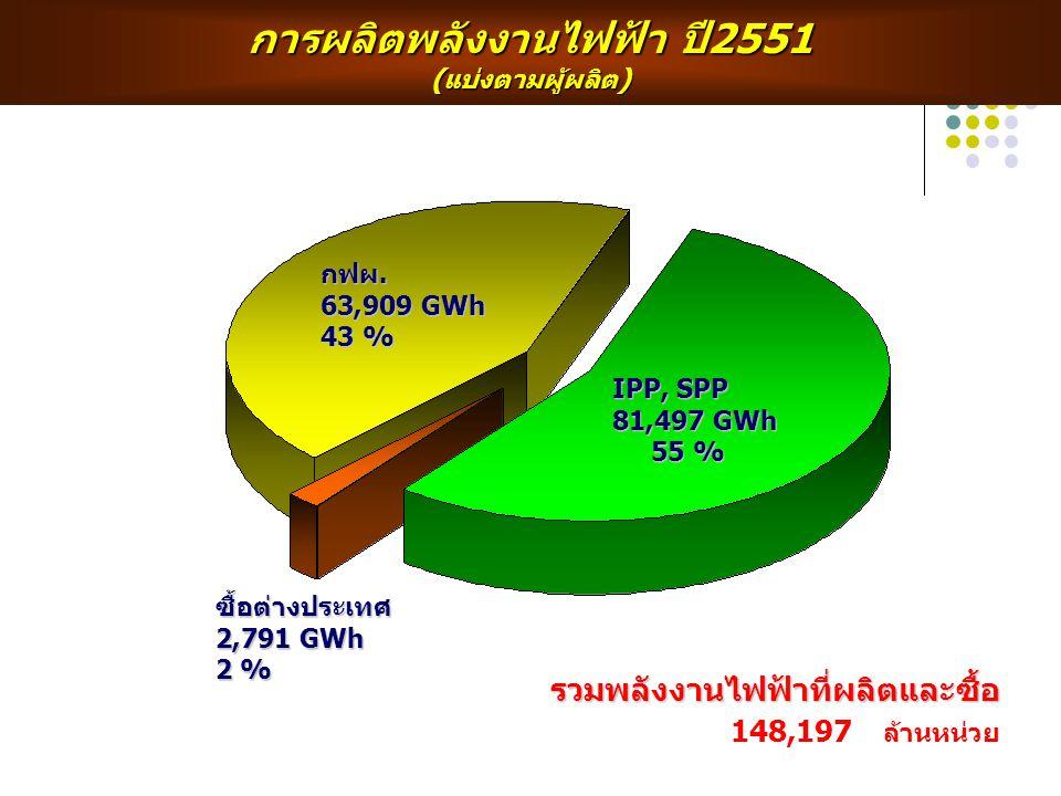 การผลิตพลังงานไฟฟ้า ปี2551