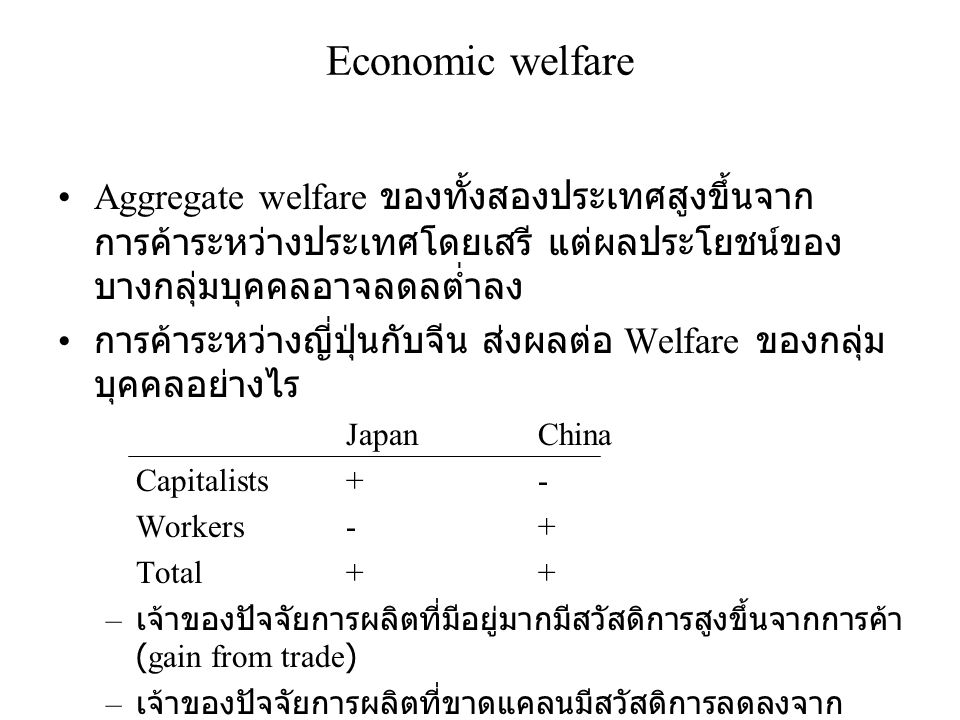 Economic welfare Aggregate welfare ของทั้งสองประเทศสูงขึ้นจากการค้าระหว่างประเทศโดยเสรี แต่ผลประโยชน์ของบางกลุ่มบุคคลอาจลดลต่ำลง.