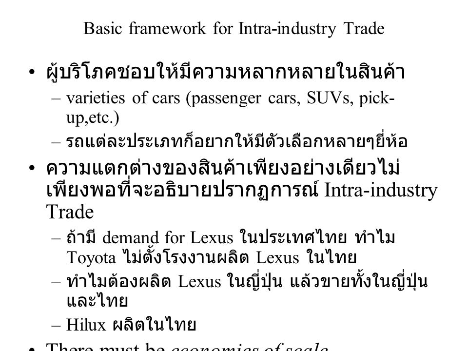 Basic framework for Intra-industry Trade