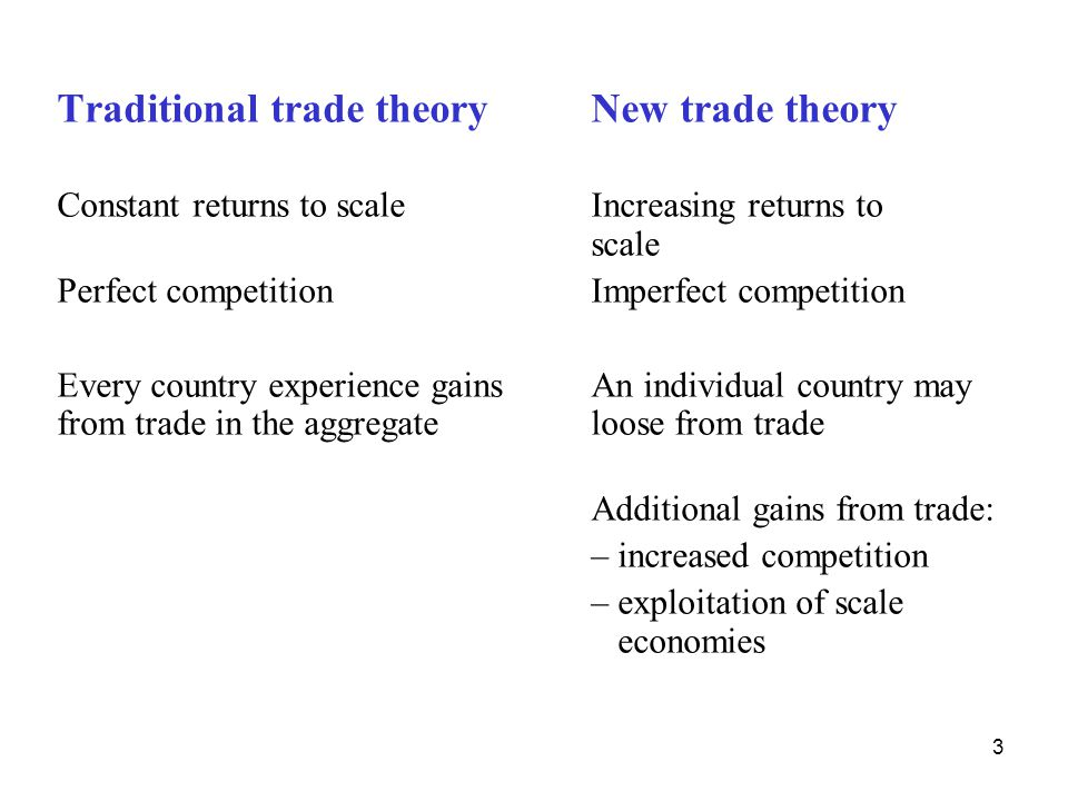 Traditional trade theory New trade theory