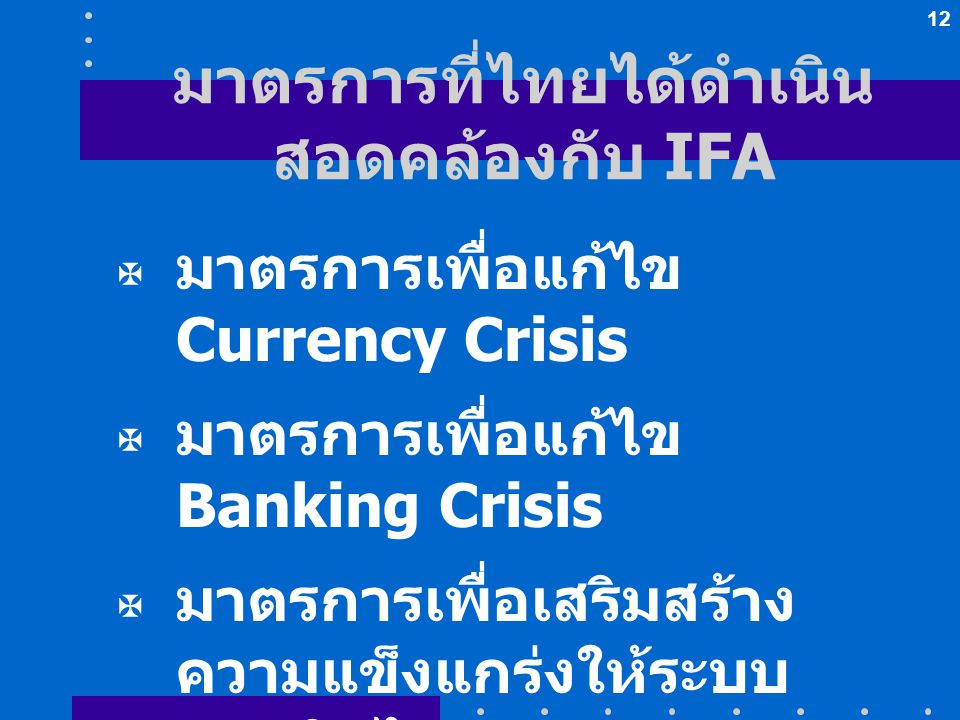 มาตรการที่ไทยได้ดำเนินสอดคล้องกับ IFA