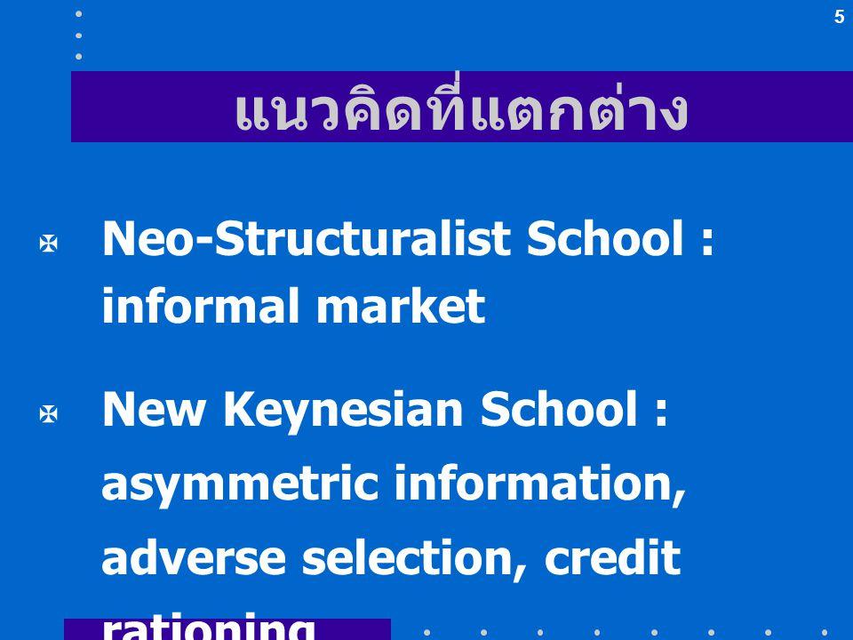 แนวคิดที่แตกต่าง Neo-Structuralist School : informal market