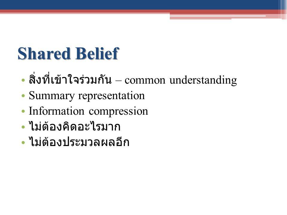 Shared Belief สิ่งที่เข้าใจร่วมกัน – common understanding