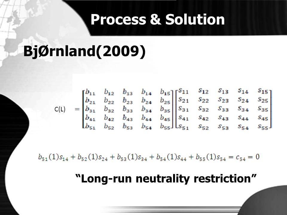 Process & Solution BjØrnland(2009) Long-run neutrality restriction