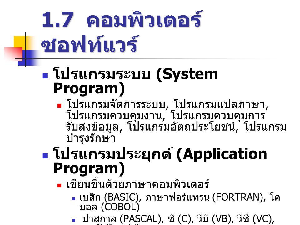 1.7 คอมพิวเตอร์ซอฟท์แวร์