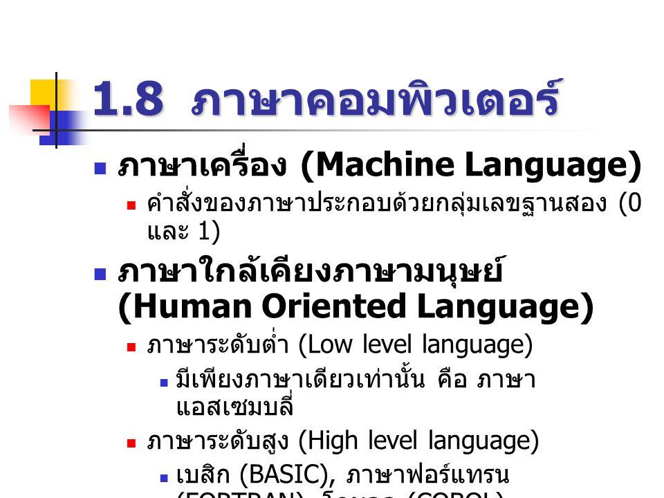 1.8 ภาษาคอมพิวเตอร์ ภาษาเครื่อง (Machine Language)