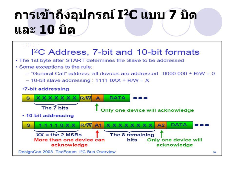 การเข้าถึงอุปกรณ์ I2C แบบ 7 บิต และ 10 บิต