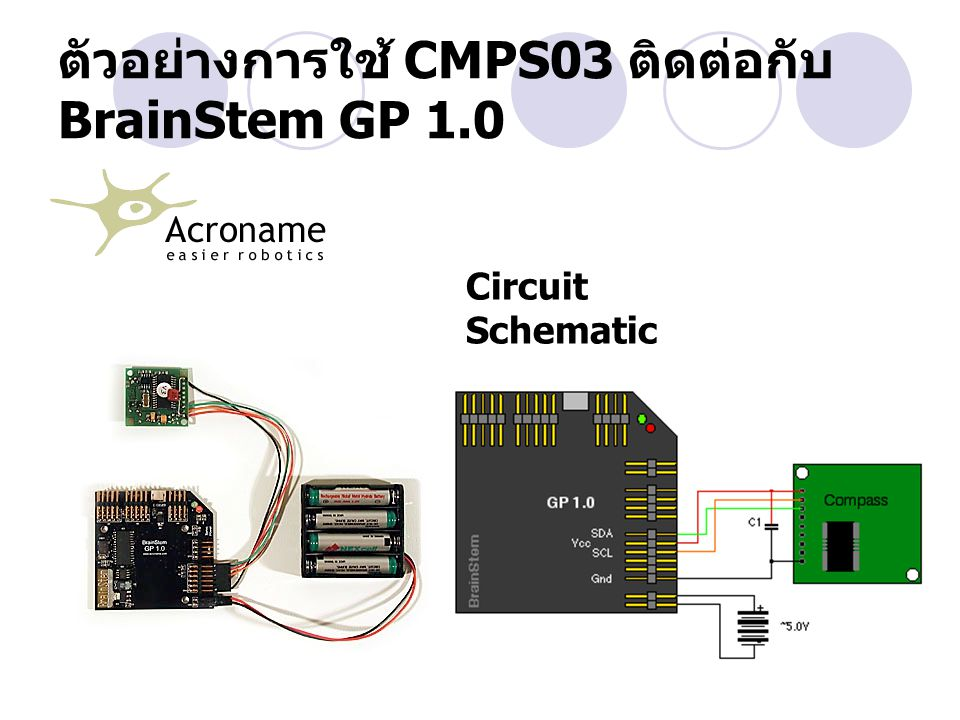 ตัวอย่างการใช้ CMPS03 ติดต่อกับ BrainStem GP 1.0