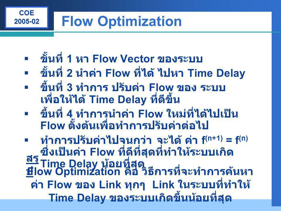 Flow Optimization ขั้นที่ 1 หา Flow Vector ของระบบ