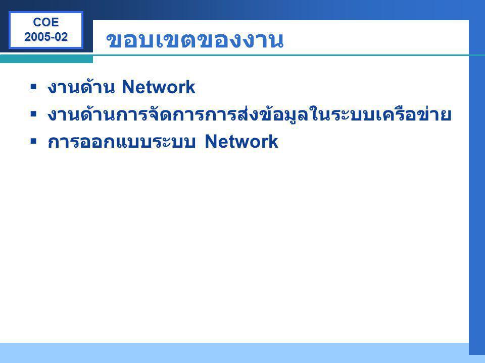 ขอบเขตของงาน งานด้าน Network