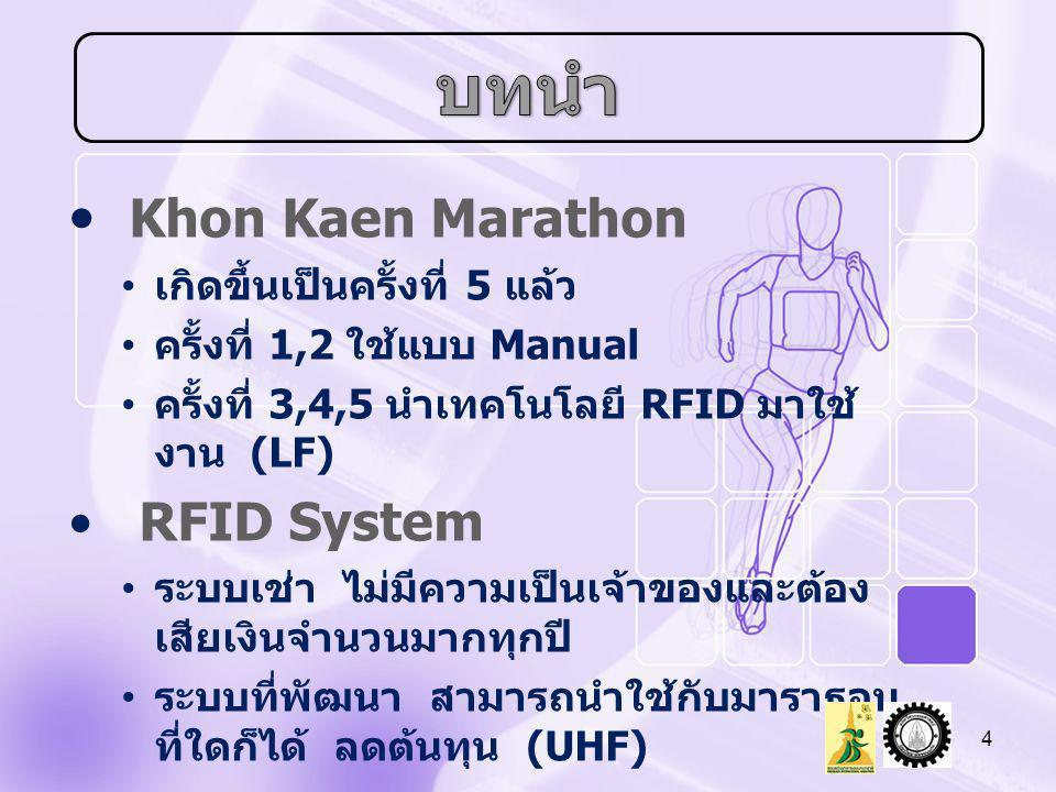 บทนำ Khon Kaen Marathon RFID System เกิดขึ้นเป็นครั้งที่ 5 แล้ว