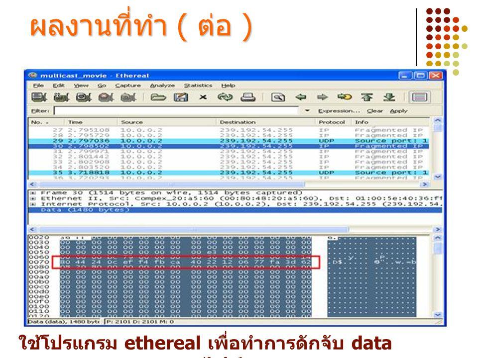 ใช้โปรแกรม ethereal เพื่อทำการดักจับ data ของไฟล์