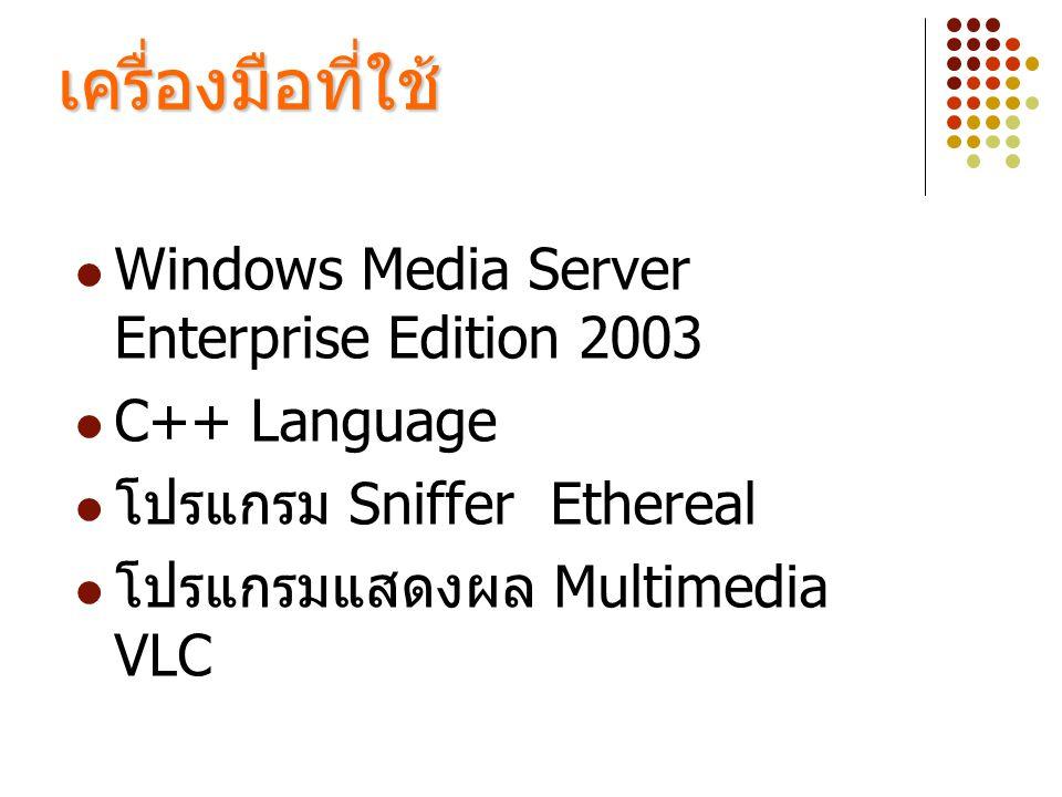 เครื่องมือที่ใช้ Windows Media Server Enterprise Edition 2003
