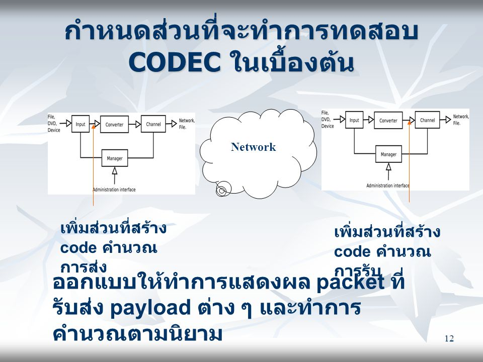 กำหนดส่วนที่จะทำการทดสอบ CODEC ในเบื้องต้น